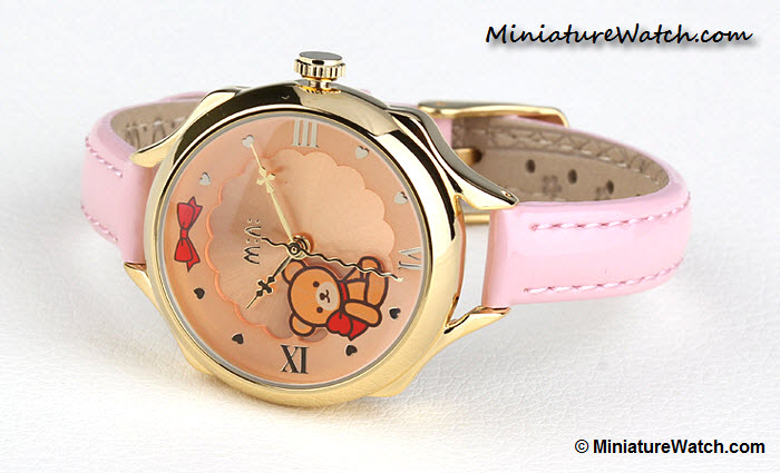 Classic Teddy Bear Mini Watch Pink Gold 2