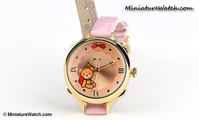 Classic Teddy Bear Mini Watch Pink Gold