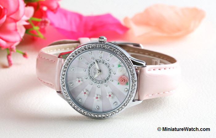 blooming flower mini watch pink 4