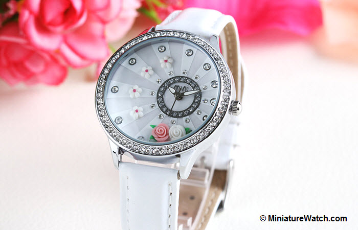 blooming flower mini watch white 1