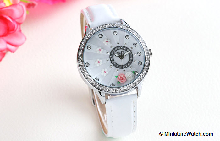 blooming flower mini watch white 2