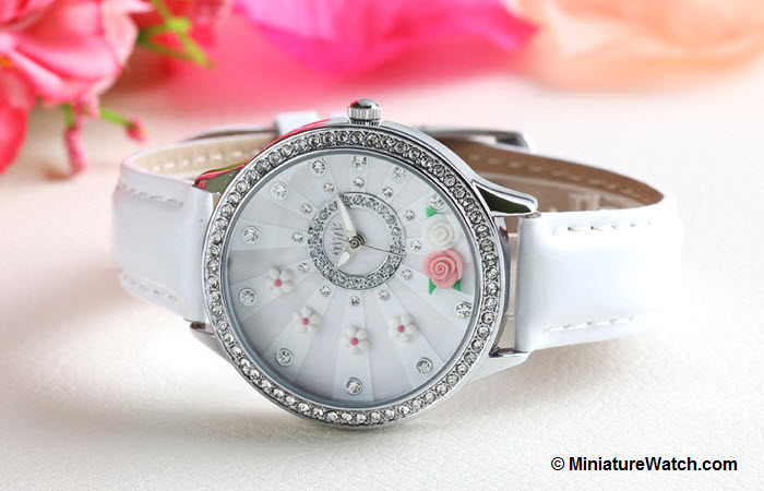 blooming flower mini watch white 3