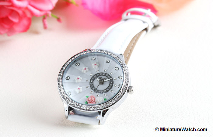 blooming flower mini watch white 4