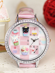 Cute Kitty Cupcake Mini Watch