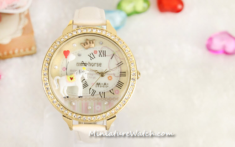 white gold mini horse mini watch 1a