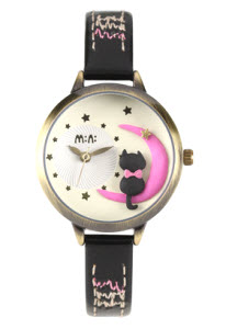 Moon Cat Mini Watch Black thumb