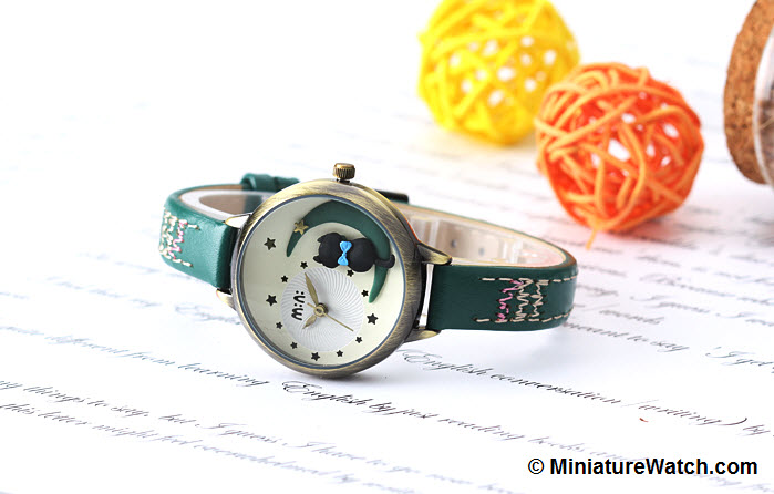 Moon Cat Mini Watch Green 1