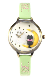 Moon Cat Mini Watch Light Green thumb