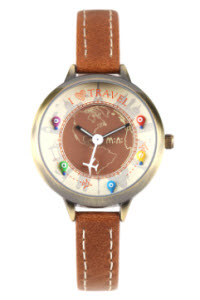 i love travel mini watch brown thumb
